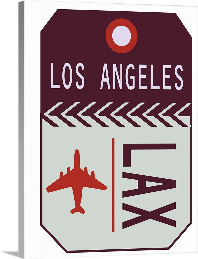 Large Solid-Faced Canvas Print Wall Art Print 30 x 40 entitled Vintage Travel Tag - LAX Solid-Faced Canvas Print entitled Vintage Travel Tag - LAX.  A retro style luggage tag for airline flights to LAX in Los Angeles.  Multiple sizes available.  Primary colors within this image include Dark Red, Dark Gray, Silver.  Made in the USA.  All products come with a 365 day workmanship guarantee.  Inks used are latex-based and designed to last.  Canvas depth is 1.25 and includes a finished backing with pre-installed hanging hardware.  Archival inks prevent fading and preserve as much fine detail as possible with no over-saturation or color shifting.