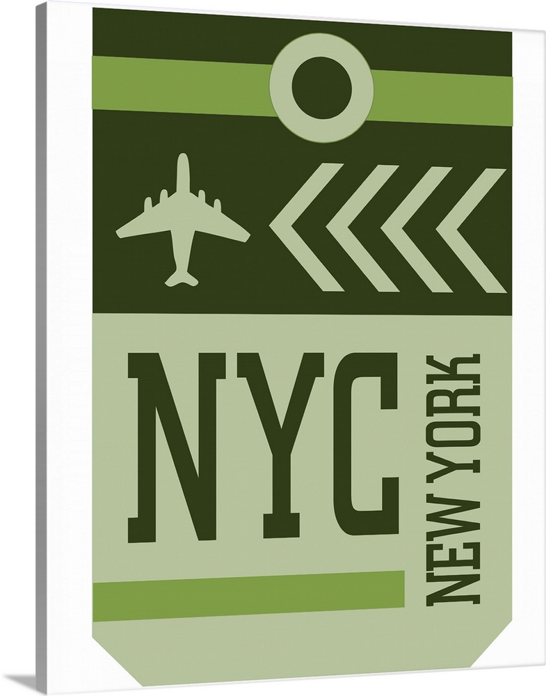 Large Solid-Faced Canvas Print Wall Art Print 24 x 30 entitled Vintage Travel Tag - NYC Solid-Faced Canvas Print entitled Vintage Travel Tag - NYC.  A retro style luggage tag for airline flights to NYC in New York.  Multiple sizes available.  Primary colors within this image include Silver, Dark Forest Green.  Made in USA.  All products come with a 365 day workmanship guarantee.  Inks used are latex-based and designed to last.  Canvas depth is 1.25 and includes a finished backing with pre-installed hanging hardware.  Canvas is handcrafted and made-to-order in the United States using high quality artist-grade canvas.