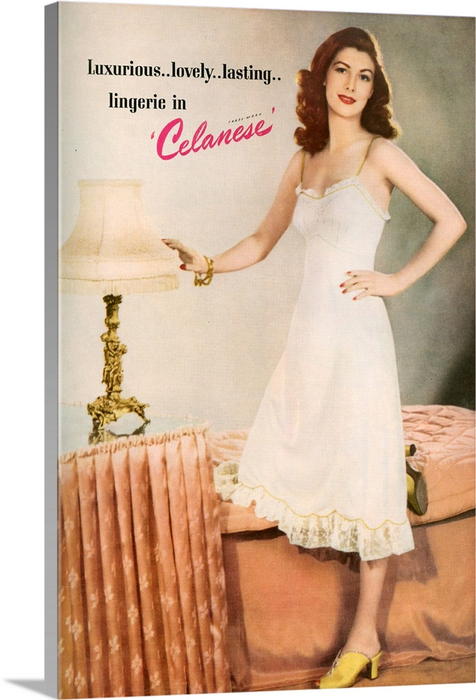 Large Solid-Faced Canvas Print Wall Art Print 20 x 30 entitled 1940's UK Celanese Lingerie Magazine Advert Solid-Faced Canvas Print entitled 1940s UK Celanese Lingerie Magazine Advert.  Multiple sizes available.  Primary colors within this image include Fuschia, Brown, Peach, White.  Made in the USA.  All products come with a 365 day workmanship guarantee.  Archival-quality UV-resistant inks.  Featuring a proprietary design, our canvases produce the tightest corners without any bubbles, ripples, or bumps and will not warp or sag over time.  Canvas is handcrafted and made-to-order in the United States using high quality artist-grade canvas.