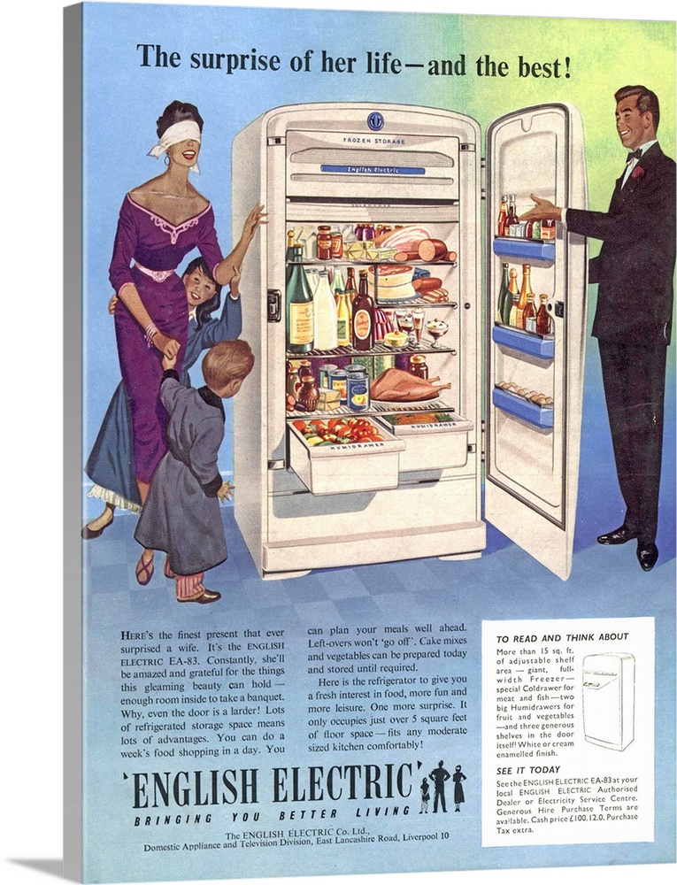 Large Solid-Faced Canvas Print Wall Art Print 18 x 24 entitled English Electric, Refrigerator Solid-Faced Canvas Print entitled English Electric, Refrigerator.  .1955.1950s.UK.english electric fridges housewife housewives appliances refridgerators refrigerators...  Multiple sizes available.  Primary colors within this image include Light Yellow, Sky Blue, Dark Gray, White.  Made in USA.  All products come with a 365 day workmanship guarantee.  Archival-quality UV-resistant inks.  Archival inks prevent fading and preserve as much fine detail as possible with no over-saturation or color shifting.  Canvas depth is 1.25 and includes a finished backing with pre-installed hanging hardware.