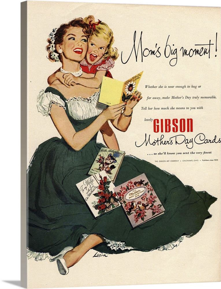 Large Gallery-Wrapped Canvas Wall Art Print 17 x 24 entitled Gibson Mother's Day Cards Gallery-Wrapped Canvas entitled Gibson Mothers Day Cards.  .1940s.USA.mothers day mothers cards gibson children...  Multiple sizes available.  Primary colors within this image include Red Brown Black Silver.  Made in the USA.  Satisfaction guaranteed.  Inks used are latex-based and designed to last.  Canvas is a 65 polyester 35 cotton base with two acrylic latex primer basecoats and a semi-gloss inkjet receptive topcoat.  Canvas is designed to prevent fading.