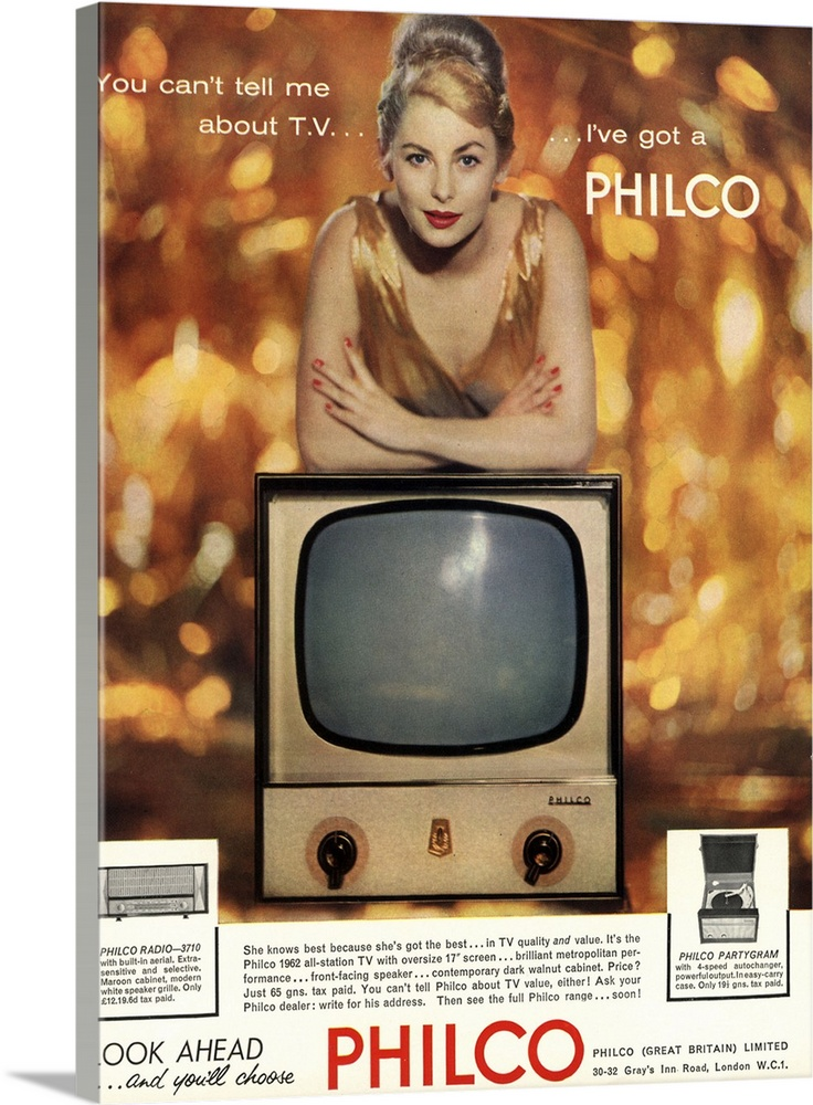Large Gallery-Wrapped Canvas Wall Art Print 17 x 24 entitled Philco, Television Gallery-Wrapped Canvas entitled Philco, Television.  Multiple sizes available.  Primary colors within this image include Dark Red, Peach, Black, White.  Made in the USA.  All products come with a 365 day workmanship guarantee.  Archival-quality UV-resistant inks.  Canvases have a UVB protection built in to protect against fading and moisture and are designed to last for over 100 years.  Canvas is acid-free and 20 millimeters thick.