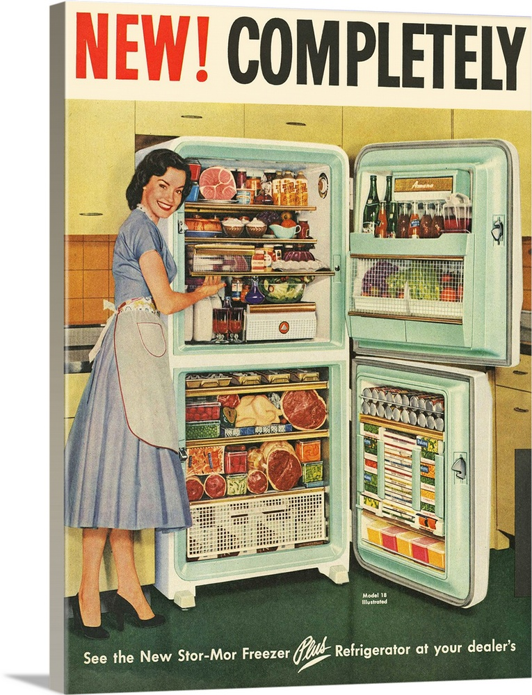 Large Solid-Faced Canvas Print Wall Art Print 18 x 24 entitled Stor-Mor Freezer Refrigerator Solid-Faced Canvas Print entitled Stor-Mor Freezer Refrigerator.  Multiple sizes available.  Primary colors within this image include Red, Brown, White, Dark Forest Green.  Made in the USA.  Satisfaction guaranteed.  Archival-quality UV-resistant inks.  Canvas depth is 1.25 and includes a finished backing with pre-installed hanging hardware.  Archival inks prevent fading and preserve as much fine detail as possible with no over-saturation or color shifting.