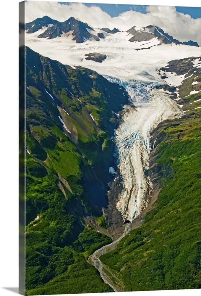 Large Solid-Faced Canvas Print Wall Art Print 20 x 30 entitled A hanging glacier off of Yalik Glacier in Kenai Fjords Nati... Solid-Faced Canvas Print entitled A hanging glacier off of Yalik Glacier in Kenai Fjords National Park, Kenai Peninsula.  A hanging offshoot of Yalik Glacier in Kenai Fjords National Park on the Kenai Peninsula in southcentral Alaska during summer.  Multiple sizes available.  Primary colors within this image include White, Dark Forest Green, Gray Blue, Dark Navy Blue.  Made in USA.  Satisfaction guaranteed.  Archival-quality UV-resistant inks.  Canvas depth is 1.25 and includes a finished backing with pre-installed hanging hardware.  Canvas is handcrafted and made-to-order in the United States using high quality artist-grade canvas.