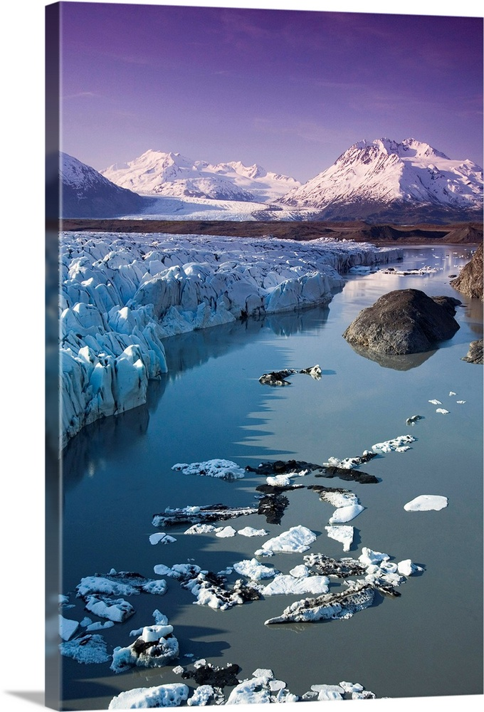 Large Solid-Faced Canvas Print Wall Art Print 20 x 30 entitled Aerial of Knik & Colony Glacier Matanuska Valley Chugach Mo.. Solid-Faced Canvas Print entitled Aerial of Knik  Colony Glacier Matanuska Valley Chugach Mountains Southcentral.  Knik Glacier and Colony Glacier.  Matanuska Valley, Chugach Mountains.  Summer, Alaska.  Multiple sizes available.  Primary colors within this image include Gray, White, Muted Blue, Dark Navy Blue.  Made in the USA.  All products come with a 365 day workmanship guarantee.  Archival-quality UV-resistant inks.  Canvas is handcrafted and made-to-order in the United States using high quality artist-grade canvas.  Archival inks prevent fading and preserve as much fine detail as possible with no over-saturation or color shifting.