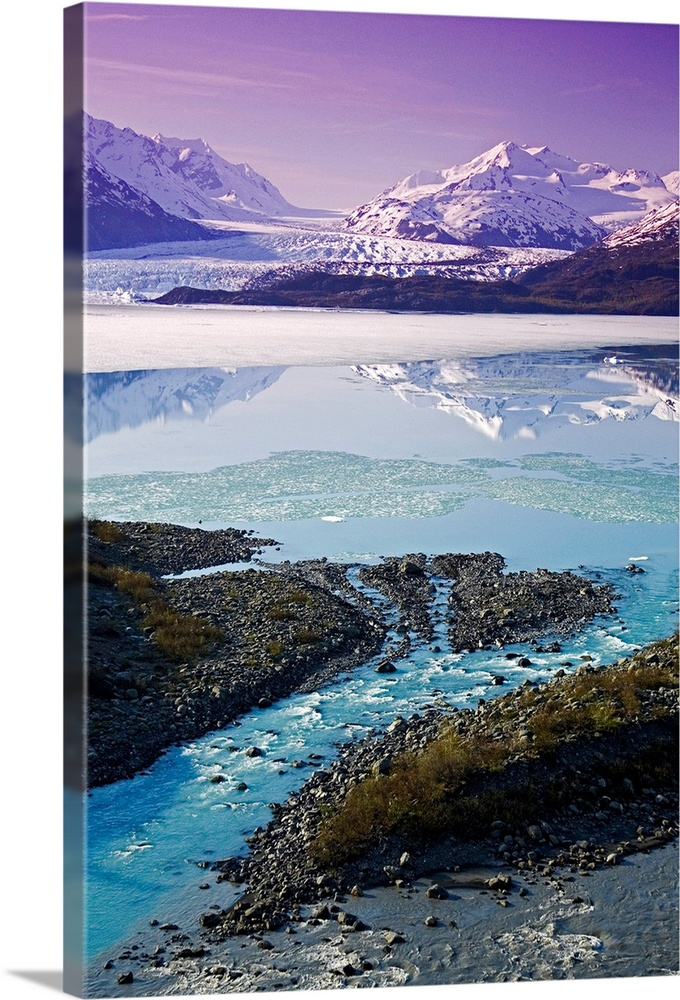 Large Solid-Faced Canvas Print Wall Art Print 20 x 30 entitled Aerial of Knik & Colony Glacier Matanuska Valley Chugach Mo.. Solid-Faced Canvas Print entitled Aerial of Knik  Colony Glacier Matanuska Valley Chugach Mountains Southcentral.  Colony Glacier and Lake George.  Matanuska Valley, Chugach Mountains.  Summer, Alaska.  Multiple sizes available.  Primary colors within this image include Lilac, Black, White, Gray Blue.  Made in USA.  All products come with a 365 day workmanship guarantee.  Inks used are latex-based and designed to last.  Featuring a proprietary design, our canvases produce the tightest corners without any bubbles, ripples, or bumps and will not warp or sag over time.  Archival inks prevent fading and preserve as much fine detail as possible with no over-saturation or color shifting.