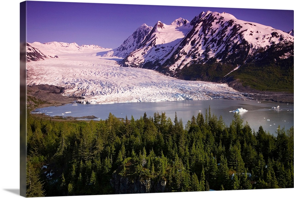 Large Solid-Faced Canvas Print Wall Art Print 30 x 20 entitled Aerial of Spencer Glacier Kenai Mountains Chugach National ... Solid-Faced Canvas Print entitled Aerial of Spencer Glacier Kenai Mountains Chugach National Forest Southcentral.  Multiple sizes available.  Primary colors within this image include Dark Purple, Black, Light Gray, White.  Made in USA.  All products come with a 365 day workmanship guarantee.  Inks used are latex-based and designed to last.  Canvas depth is 1.25 and includes a finished backing with pre-installed hanging hardware.  Featuring a proprietary design, our canvases produce the tightest corners without any bubbles, ripples, or bumps and will not warp or sag over time.