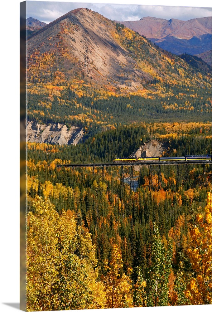 Large Solid-Faced Canvas Print Wall Art Print 20 x 30 entitled Alaska Railroad Train crossing a tressel at Denali National... Solid-Faced Canvas Print entitled Alaska Railroad Train crossing a tressel at Denali National Park, Interior, Alaska, Fall.  Multiple sizes available.  Primary colors within this image include Brown, Light Yellow, Black, Light Gray Blue.  Made in USA.  All products come with a 365 day workmanship guarantee.  Archival-quality UV-resistant inks.  Featuring a proprietary design, our canvases produce the tightest corners without any bubbles, ripples, or bumps and will not warp or sag over time.  Canvas depth is 1.25 and includes a finished backing with pre-installed hanging hardware.
