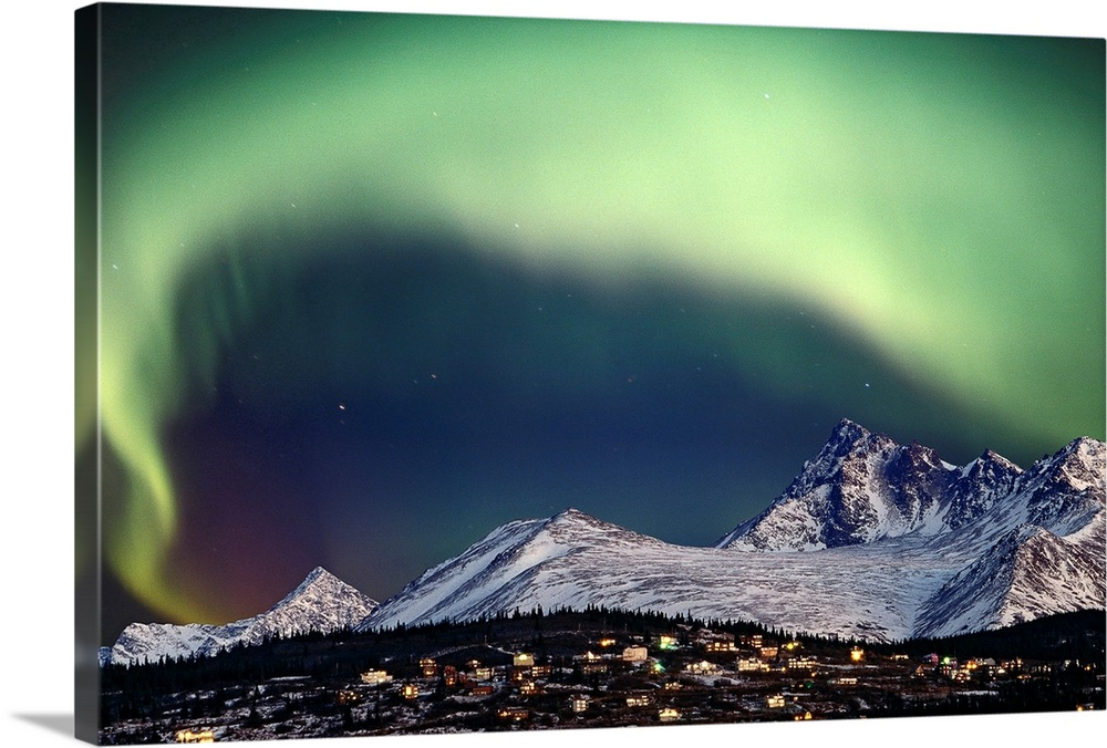 Large Solid-Faced Canvas Print Wall Art Print 30 x 20 entitled Aurora Borealis over hillside neighborhood & Chugach Mounta.. Solid-Faced Canvas Print entitled Aurora Borealis over hillside neighborhood  Chugach Mountains Anchorage Alaska.  Multiple sizes available.  Primary colors within this image include Light Green, Black, Silver, Gray Blue.  Made in USA.  All products come with a 365 day workmanship guarantee.  Inks used are latex-based and designed to last.  Canvas depth is 1.25 and includes a finished backing with pre-installed hanging hardware.  Canvas is handcrafted and made-to-order in the United States using high quality artist-grade canvas.