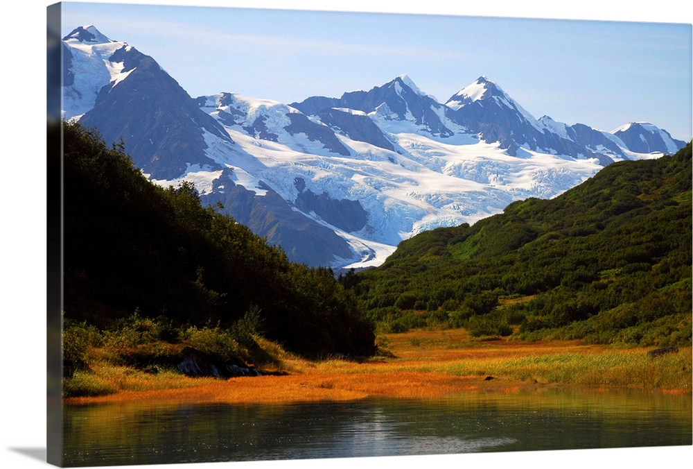 Large Solid-Faced Canvas Print Wall Art Print 30 x 20 entitled Autumn scenic of Harriman Fiord near Harriman Glacier, Prin... Solid-Faced Canvas Print entitled Autumn scenic of Harriman Fiord near Harriman Glacier, Prince William Sound.  Multiple sizes available.  Primary colors within this image include Brown, Muted Blue, Dark Forest Green, Pale Blue.  Made in the USA.  All products come with a 365 day workmanship guarantee.  Archival-quality UV-resistant inks.  Archival inks prevent fading and preserve as much fine detail as possible with no over-saturation or color shifting.  Featuring a proprietary design, our canvases produce the tightest corners without any bubbles, ripples, or bumps and will not warp or sag over time.