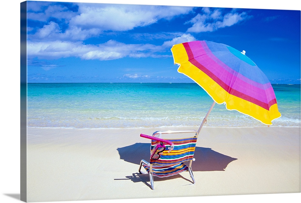 Large Solid-Faced Canvas Print Wall Art Print 30 x 20 entitled Beach Chair And Umbrella With Snorkel Gear, Turquoise Ocean... Solid-Faced Canvas Print entitled Beach Chair And Umbrella With Snorkel Gear, Turquoise Ocean And Blue Skies.  A large photograph of a colorful beach chair and umbrella sitting solely on the sand close to the clear ocean water.  Multiple sizes available.  Primary colors within this image include Yellow, White, Royal Blue, Teal.  Made in USA.  All products come with a 365 day workmanship guarantee.  Inks used are latex-based and designed to last.  Canvas is handcrafted and made-to-order in the United States using high quality artist-grade canvas.  Featuring a proprietary design, our canvases produce the tightest corners without any bubbles, ripples, or bumps and will not warp or sag over time.