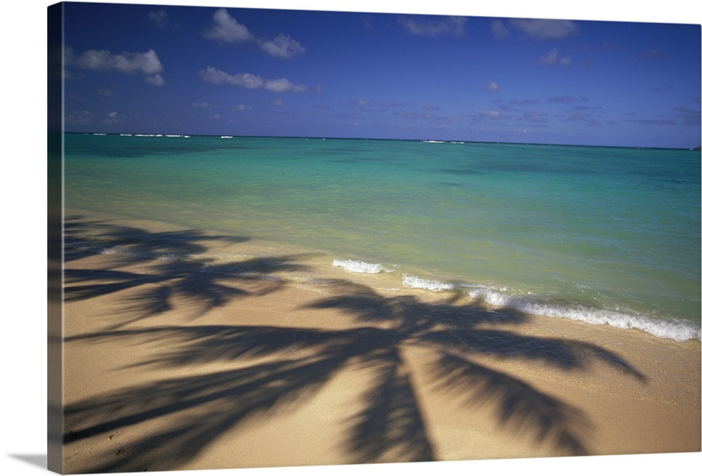 Large Solid-Faced Canvas Print Wall Art Print 30 x 20 entitled Beach Shoreline With Palm Tree Shadows Solid-Faced Canvas Print entitled Beach Shoreline With Palm Tree Shadows.  Large photo printed on canvas of the shadows of big palm trees.  Multiple sizes available.  Primary colors within this image include Peach, Dark Gray, Muted Blue.  Made in USA.  All products come with a 365 day workmanship guarantee.  Inks used are latex-based and designed to last.  Featuring a proprietary design, our canvases produce the tightest corners without any bubbles, ripples, or bumps and will not warp or sag over time.  Archival inks prevent fading and preserve as much fine detail as possible with no over-saturation or color shifting.