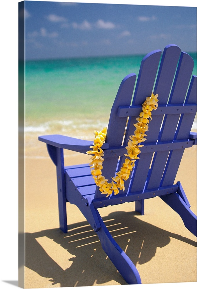 Large Solid-Faced Canvas Print Wall Art Print 20 x 30 entitled Blue Beach Chair With Plumeria Lei Hanging On Side Solid-Faced Canvas Print entitled Blue Beach Chair With Plumeria Lei Hanging On Side.  Multiple sizes available.  Primary colors within this image include Dark Yellow, Peach, Muted Blue, Light Gray Blue.  Made in USA.  Satisfaction guaranteed.  Inks used are latex-based and designed to last.  Featuring a proprietary design, our canvases produce the tightest corners without any bubbles, ripples, or bumps and will not warp or sag over time.  Archival inks prevent fading and preserve as much fine detail as possible with no over-saturation or color shifting.