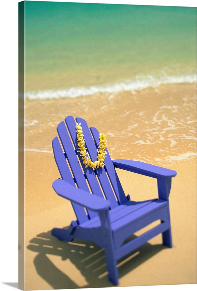 Large Solid-Faced Canvas Print Wall Art Print 20 x 30 entitled Blue Beach Chair With Plumeria Lei Hanging On Side Solid-Faced Canvas Print entitled Blue Beach Chair With Plumeria Lei Hanging On Side.  Multiple sizes available.  Primary colors within this image include Orange, Peach, Lilac, Teal.  Made in the USA.  All products come with a 365 day workmanship guarantee.  Inks used are latex-based and designed to last.  Canvas is handcrafted and made-to-order in the United States using high quality artist-grade canvas.  Featuring a proprietary design, our canvases produce the tightest corners without any bubbles, ripples, or bumps and will not warp or sag over time.