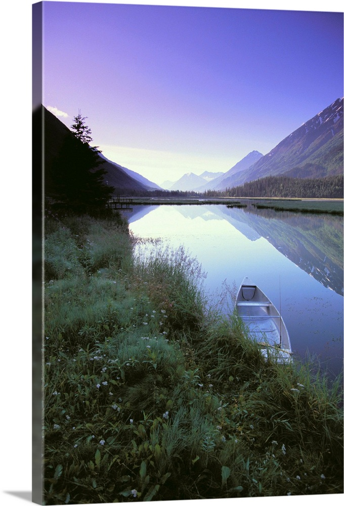 Large Solid-Faced Canvas Print Wall Art Print 20 x 30 entitled Canoe Sits At Lake Side Kenai Mtns Sunrise Solid-Faced Canvas Print entitled Canoe Sits At Lake Side Kenai Mtns Sunrise.  Multiple sizes available.  Primary colors within this image include Lilac, Black, Light Gray, White.  Made in the USA.  Satisfaction guaranteed.  Archival-quality UV-resistant inks.  Archival inks prevent fading and preserve as much fine detail as possible with no over-saturation or color shifting.  Canvas is handcrafted and made-to-order in the United States using high quality artist-grade canvas.