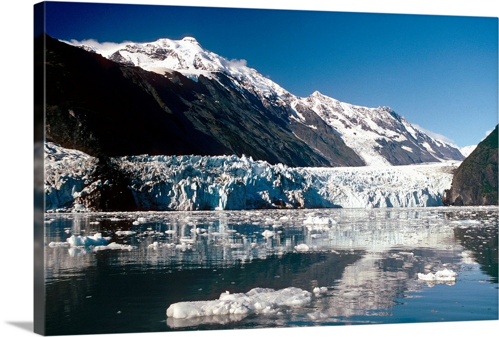 Large Solid-Faced Canvas Print Wall Art Print 30 x 20 entitled Cascade & Barry Glaciers Prince William Sound AK Southcentral Solid-Faced Canvas Print entitled Cascade  Barry Glaciers Prince William Sound AK Southcentral.  Multiple sizes available.  Primary colors within this image include Black, Gray, White, Muted Blue.  Made in the USA.  All products come with a 365 day workmanship guarantee.  Inks used are latex-based and designed to last.  Canvas depth is 1.25 and includes a finished backing with pre-installed hanging hardware.  Canvas is handcrafted and made-to-order in the United States using high quality artist-grade canvas.
