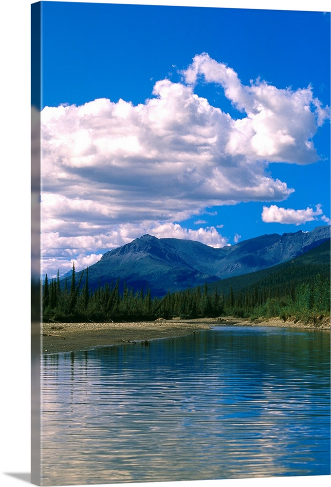 Large Solid-Faced Canvas Print Wall Art Print 20 x 30 entitled Clouds Reflecting in John River Brooks Range AK Solid-Faced Canvas Print entitled Clouds Reflecting in John River Brooks Range AK.  Multiple sizes available.  Primary colors within this image include White, Royal Blue, Dark Navy Blue.  Made in USA.  All products come with a 365 day workmanship guarantee.  Archival-quality UV-resistant inks.  Canvas depth is 1.25 and includes a finished backing with pre-installed hanging hardware.  Archival inks prevent fading and preserve as much fine detail as possible with no over-saturation or color shifting.