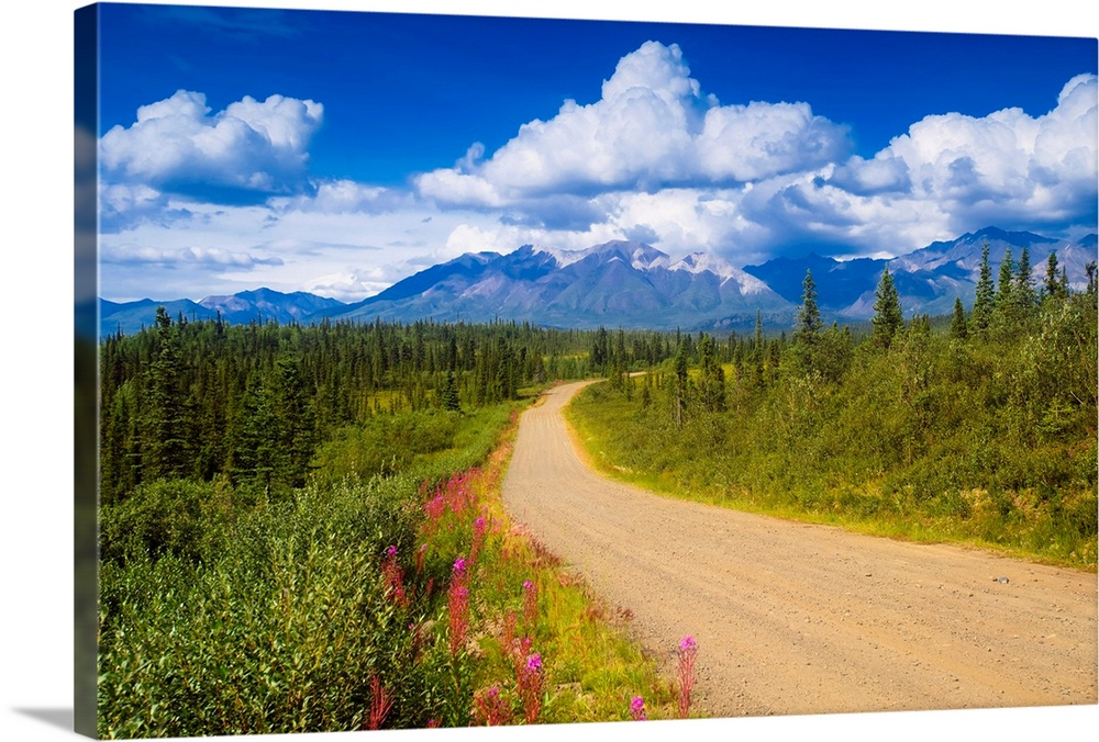 Large Solid-Faced Canvas Print Wall Art Print 30 x 20 entitled Dirt road crosses through scenic Alaska Solid-Faced Canvas Print entitled Dirt road crosses through scenic Alaska.  Multiple sizes available.  Primary colors within this image include Dark Yellow, Dark Blue, Dark Forest Green, Pale Blue.  Made in the USA.  All products come with a 365 day workmanship guarantee.  Inks used are latex-based and designed to last.  Canvas depth is 1.25 and includes a finished backing with pre-installed hanging hardware.  Archival inks prevent fading and preserve as much fine detail as possible with no over-saturation or color shifting.