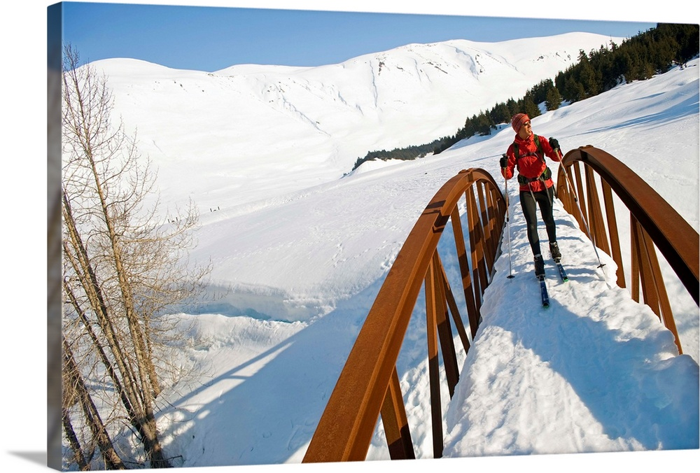 Large Solid-Faced Canvas Print Wall Art Print 30 x 20 entitled Female skier in Turnagain Pass of Chugach National Forest, ... Solid-Faced Canvas Print entitled Female skier in Turnagain Pass of Chugach National Forest, Alaska.  Agnes Stowe during a spring day of ski touring on Center Ridge in the Turnagain Pass area of Chugach National Forest, Alaska.  The popular six-mile round trip tour ascends a low hump between the dramatic ridgelines of Tin Can and Sunburst peaks.  Multiple sizes available.  Primary colors within this image include Brown, Sky Blue, Black, White.  Made in USA.  Satisfaction guaranteed.  Inks used are latex-based and designed to last.  Canvas is handcrafted and made-to-order in the United States using high quality artist-grade canvas.  Archival inks prevent fading and preserve as much fine detail as possible with no over-saturation or color shifting.