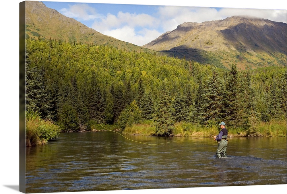 Large Solid-Faced Canvas Print Wall Art Print 30 x 20 entitled Fly Fisherman casting for Dolly Varden Quartz Creek Kenai P... Solid-Faced Canvas Print entitled Fly Fisherman casting for Dolly Varden Quartz Creek Kenai Peninsula Alaska Fall.  Fly Fisherman Casting for Rainbow Trout or Dolly Varden - Quartz Creek - Kenai Peninsula Alaska - Kenai Mountains.  Multiple sizes available.  Primary colors within this image include Dark Yellow, Black, Gray, Silver.  Made in the USA.  All products come with a 365 day workmanship guarantee.  Archival-quality UV-resistant inks.  Canvas is handcrafted and made-to-order in the United States using high quality artist-grade canvas.  Canvas depth is 1.25 and includes a finished backing with pre-installed hanging hardware.