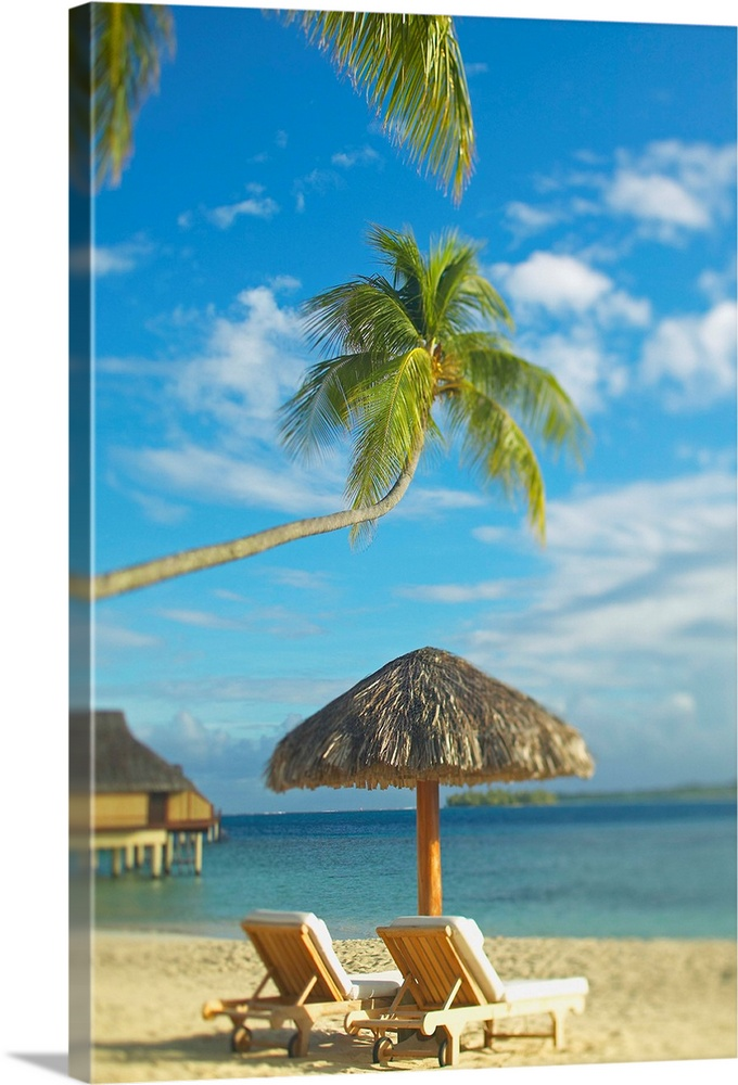 Large Solid-Faced Canvas Print Wall Art Print 20 x 30 entitled French Polynesia, Tahiti, Bora Bora, Lounge Chairs And That... Solid-Faced Canvas Print entitled French Polynesia, Tahiti, Bora Bora, Lounge Chairs And Thatch Umbrella On Beach.  Photograph taken of two beach chairs and an umbrella sitting on a beach in Tahiti. A palm tree stretches out and hangs over the chairs.  Multiple sizes available.  Primary colors within this image include Dark Yellow, Gray, White, Royal Blue.  Made in the USA.  Satisfaction guaranteed.  Inks used are latex-based and designed to last.  Archival inks prevent fading and preserve as much fine detail as possible with no over-saturation or color shifting.  Featuring a proprietary design, our canvases produce the tightest corners without any bubbles, ripples, or bumps and will not warp or sag over time.