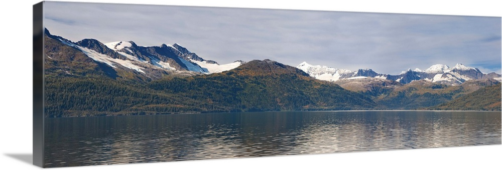 Large Solid-Faced Canvas Print Wall Art Print 48 x 16 entitled Hanging glaciers and Chugach Mountiains in Port Wells, Prin... Solid-Faced Canvas Print entitled Hanging glaciers and Chugach Mountiains in Port Wells, Prince William Sound.  Multiple sizes available.  Primary colors within this image include Dark Gray, Silver.  Made in the USA.  Satisfaction guaranteed.  Inks used are latex-based and designed to last.  Archival inks prevent fading and preserve as much fine detail as possible with no over-saturation or color shifting.  Featuring a proprietary design, our canvases produce the tightest corners without any bubbles, ripples, or bumps and will not warp or sag over time.