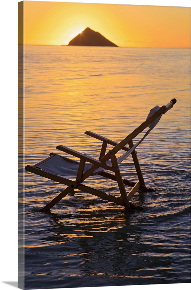 Large Solid-Faced Canvas Print Wall Art Print 20 x 30 entitled Hawaii, Lanikai, Empty Beach Chair At Sunset Solid-Faced Canvas Print entitled Hawaii, Lanikai, Empty Beach Chair At Sunset.  Multiple sizes available.  Primary colors within this image include Peach, Black, Gray.  Made in the USA.  Satisfaction guaranteed.  Archival-quality UV-resistant inks.  Canvas is handcrafted and made-to-order in the United States using high quality artist-grade canvas.  Canvas depth is 1.25 and includes a finished backing with pre-installed hanging hardware.