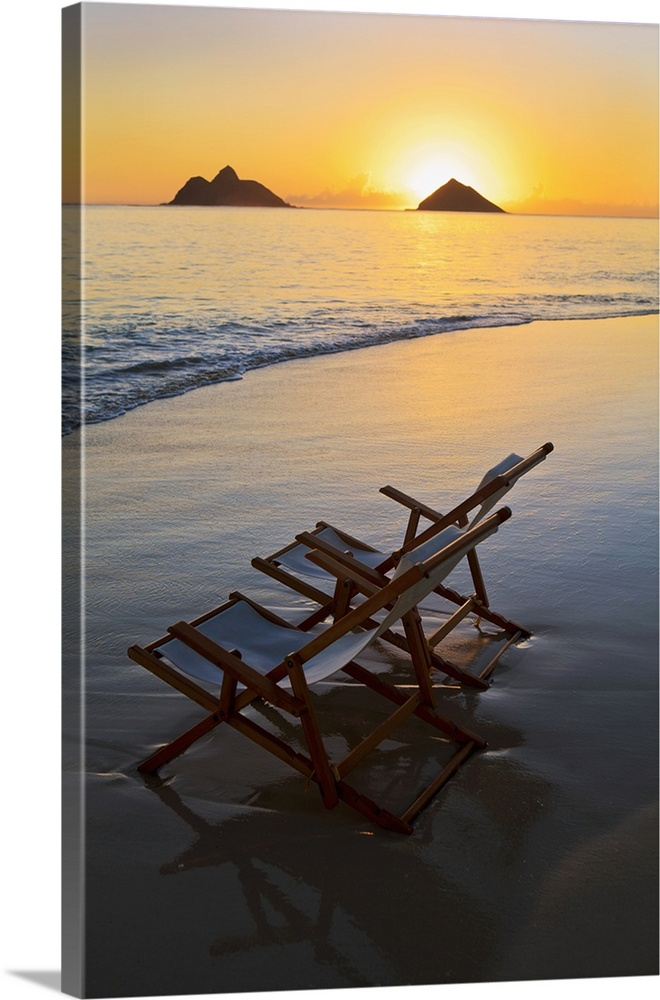 Large Solid-Faced Canvas Print Wall Art Print 20 x 30 entitled Hawaii, Lanikai, Empty Beach Chair At Sunset Solid-Faced Canvas Print entitled Hawaii, Lanikai, Empty Beach Chair At Sunset.  Multiple sizes available.  Primary colors within this image include Peach, Black, Gray, Silver.  Made in USA.  Satisfaction guaranteed.  Inks used are latex-based and designed to last.  Featuring a proprietary design, our canvases produce the tightest corners without any bubbles, ripples, or bumps and will not warp or sag over time.  Canvas depth is 1.25 and includes a finished backing with pre-installed hanging hardware.