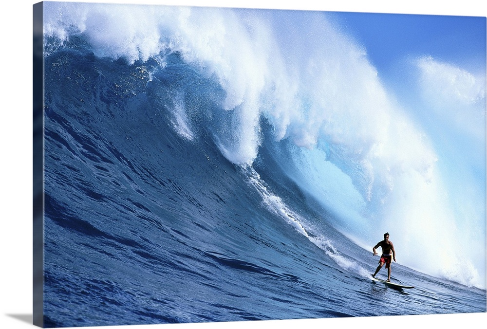 Large Solid-Faced Canvas Print Wall Art Print 30 x 20 entitled Hawaii, Maui, Jaws, Sierra Emory Looks At Camera Solid-Faced Canvas Print entitled Hawaii, Maui, Jaws, Sierra Emory Looks At Camera.  Multiple sizes available.  Primary colors within this image include Black, White, Royal Blue.  Made in USA.  Satisfaction guaranteed.  Inks used are latex-based and designed to last.  Archival inks prevent fading and preserve as much fine detail as possible with no over-saturation or color shifting.  Canvas depth is 1.25 and includes a finished backing with pre-installed hanging hardware.