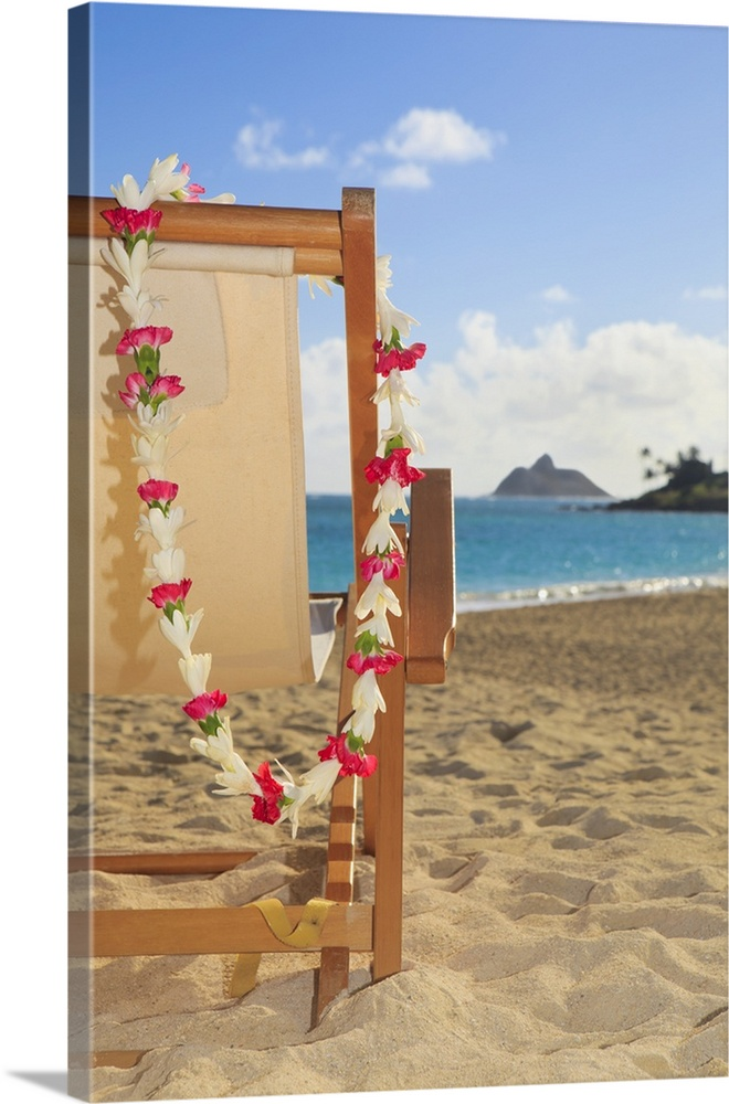 Large Solid-Faced Canvas Print Wall Art Print 20 x 30 entitled Hawaii, Oahu, Kailua, A Lounge Chair On The White Sandy Bea... Solid-Faced Canvas Print entitled Hawaii, Oahu, Kailua, A Lounge Chair On The White Sandy Beach Of Lanikai.  Multiple sizes available.  Primary colors within this image include Dark Red, Peach, Dark Gray, Pale Blue.  Made in USA.  Satisfaction guaranteed.  Inks used are latex-based and designed to last.  Canvas depth is 1.25 and includes a finished backing with pre-installed hanging hardware.  Archival inks prevent fading and preserve as much fine detail as possible with no over-saturation or color shifting.