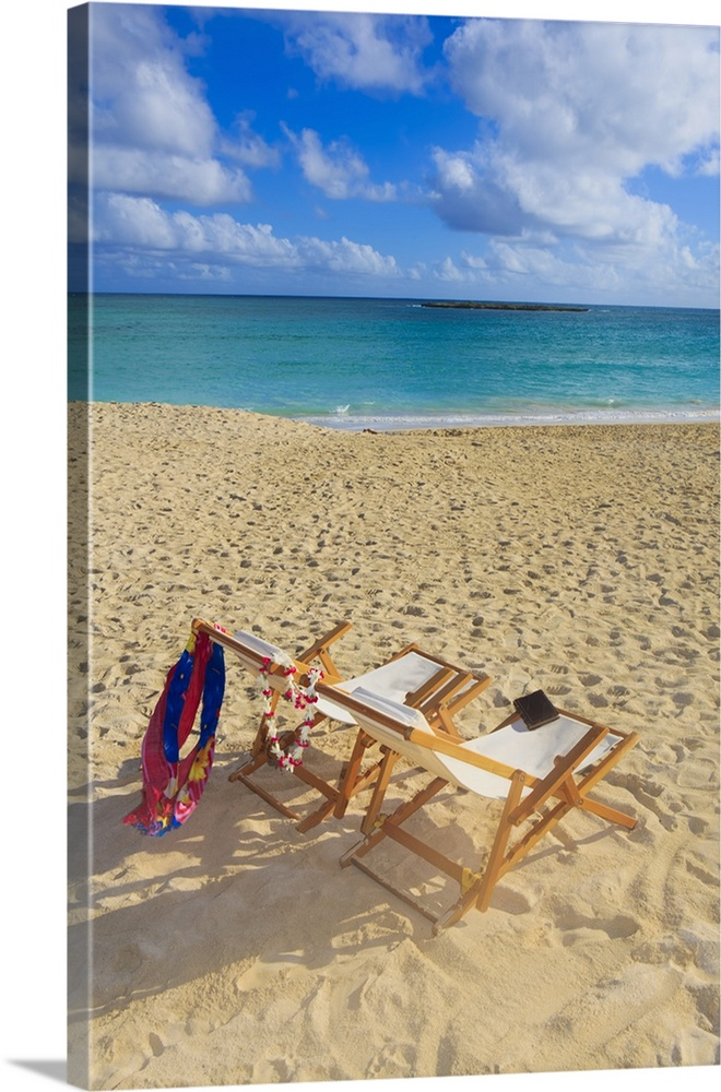 Large Solid-Faced Canvas Print Wall Art Print 20 x 30 entitled Hawaii, Oahu, Kailua, Two Lounge Chairs On The White Sandy ... Solid-Faced Canvas Print entitled Hawaii, Oahu, Kailua, Two Lounge Chairs On The White Sandy Beach Of Lanikai.  Multiple sizes available.  Primary colors within this image include Plum, Light Gray, Royal Blue, Gray Blue.  Made in the USA.  Satisfaction guaranteed.  Inks used are latex-based and designed to last.  Canvas is handcrafted and made-to-order in the United States using high quality artist-grade canvas.  Canvas depth is 1.25 and includes a finished backing with pre-installed hanging hardware.