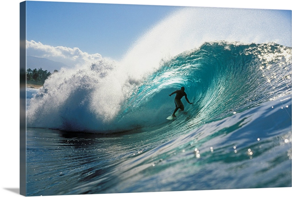 Large Solid-Faced Canvas Print Wall Art Print 30 x 20 entitled Hawaii, Oahu, North Shore, Shadow Of Surfer In Pipeline Wave Solid-Faced Canvas Print entitled Hawaii, Oahu, North Shore, Shadow Of Surfer In Pipeline Wave.  Oversized, landscape photograph of a surfer riding down the center of Pipeline Wave, in the blue waters of North Shore, Oahu in Hawaii.  Multiple sizes available.  Primary colors within this image include Black, White, Gray Blue.  Made in the USA.  Satisfaction guaranteed.  Inks used are latex-based and designed to last.  Canvas depth is 1.25 and includes a finished backing with pre-installed hanging hardware.  Featuring a proprietary design, our canvases produce the tightest corners without any bubbles, ripples, or bumps and will not warp or sag over time.