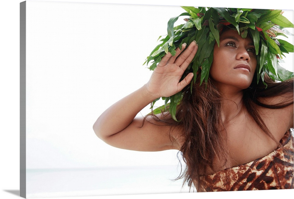 Large Gallery-Wrapped Canvas Wall Art Print 24 x 16 entitled Hawaii, Oahu, Polynesian Female Wearing Wild Fern Haku And Ta... Gallery-Wrapped Canvas entitled Hawaii, Oahu, Polynesian Female Wearing Wild Fern Haku And Tapa Cloth.  Multiple sizes available.  Primary colors within this image include Dark Yellow, Dark Gray, Light Gray, White.  Made in USA.  Satisfaction guaranteed.  Archival-quality UV-resistant inks.  Canvas is acid-free and 20 millimeters thick.  Canvas is designed to prevent fading.