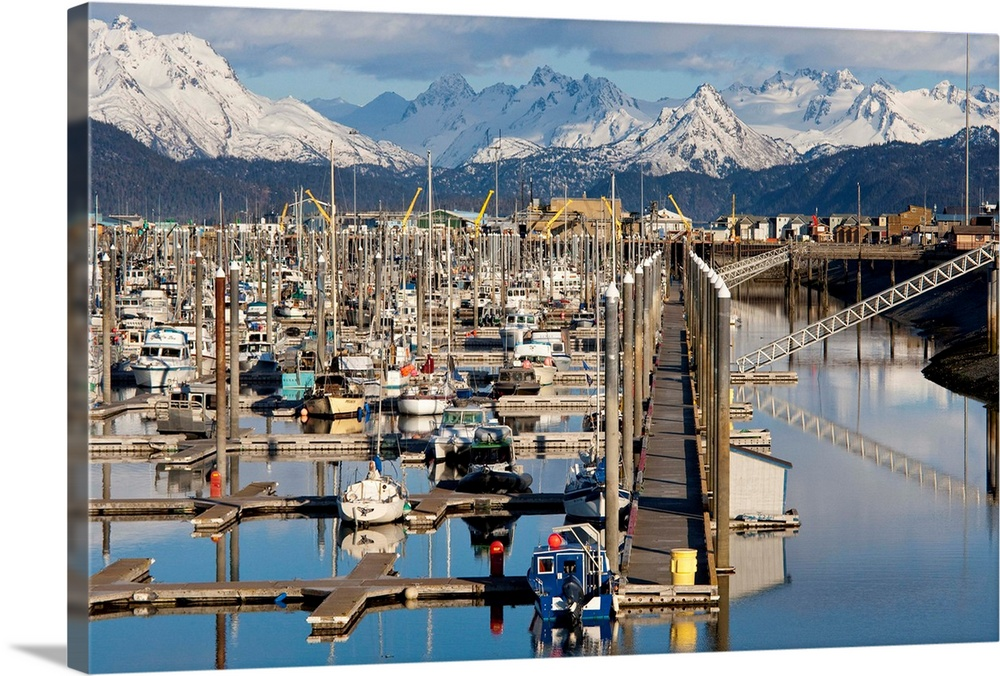 Large Solid-Faced Canvas Print Wall Art Print 30 x 20 entitled Homer boat harbor in Spring, Kenai Peninsula, Alaska Solid-Faced Canvas Print entitled Homer boat harbor in Spring, Kenai Peninsula, Alaska.  Multiple sizes available.  Primary colors within this image include Light Yellow, Black, White, Gray Blue.  Made in USA.  Satisfaction guaranteed.  Archival-quality UV-resistant inks.  Canvas is handcrafted and made-to-order in the United States using high quality artist-grade canvas.  Archival inks prevent fading and preserve as much fine detail as possible with no over-saturation or color shifting.