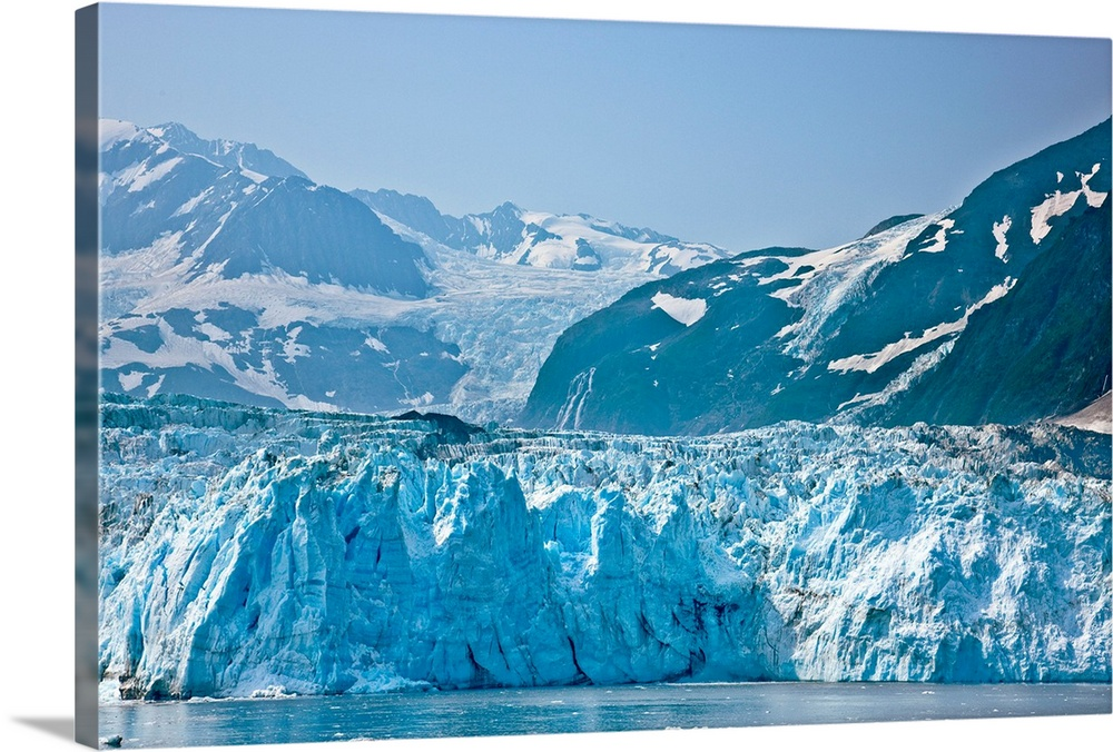 Large Solid-Faced Canvas Print Wall Art Print 30 x 20 entitled Ice detail of Harriman Glacier, Southcentral Alaska, Summer Solid-Faced Canvas Print entitled Ice detail of Harriman Glacier, Southcentral Alaska, Summer.  Multiple sizes available.  Primary colors within this image include Black, Pale Blue, Gray Blue.  Made in the USA.  Satisfaction guaranteed.  Archival-quality UV-resistant inks.  Canvas depth is 1.25 and includes a finished backing with pre-installed hanging hardware.  Archival inks prevent fading and preserve as much fine detail as possible with no over-saturation or color shifting.