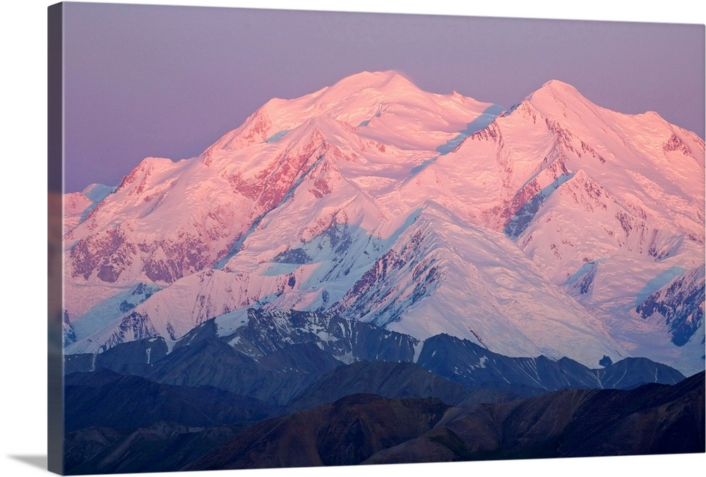 Large Solid-Faced Canvas Print Wall Art Print 30 x 20 entitled Mt. McKinley as seen from Eielson visitor center, Denali Na... Solid-Faced Canvas Print entitled Mt. McKinley as seen from Eielson visitor center, Denali National Park Alaska.  Mt. Mckinley as seen from Eielson visitor center summer Denali National Park, Alaska.  Multiple sizes available.  Primary colors within this image include Pink, Gray Blue, Dark Navy Blue.  Made in the USA.  All products come with a 365 day workmanship guarantee.  Inks used are latex-based and designed to last.  Featuring a proprietary design, our canvases produce the tightest corners without any bubbles, ripples, or bumps and will not warp or sag over time.  Archival inks prevent fading and preserve as much fine detail as possible with no over-saturation or color shifting.
