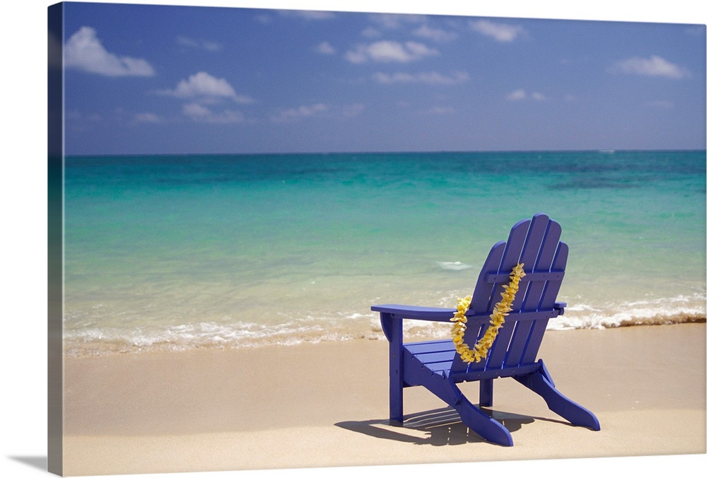 Large Solid-Faced Canvas Print Wall Art Print 30 x 20 entitled Plumeria Lei Hanging Over Blue Beach Chair Along Shoreline Solid-Faced Canvas Print entitled Plumeria Lei Hanging Over Blue Beach Chair Along Shoreline.  Multiple sizes available.  Primary colors within this image include Dark Yellow, White, Gray Blue, Dark Navy Blue.  Made in the USA.  All products come with a 365 day workmanship guarantee.  Inks used are latex-based and designed to last.  Archival inks prevent fading and preserve as much fine detail as possible with no over-saturation or color shifting.  Featuring a proprietary design, our canvases produce the tightest corners without any bubbles, ripples, or bumps and will not warp or sag over time.