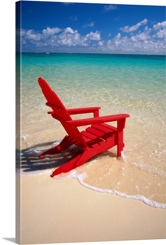 Large Solid-Faced Canvas Print Wall Art Print 20 x 30 entitled Red Beach Chair Along Shoreline, Turquoise Ocean Solid-Faced Canvas Print entitled Red Beach Chair Along Shoreline, Turquoise Ocean.  This vertical photograph is taken of a single red beach chair sitting on the edge of the water with a breathtaking view out to the sea.  Multiple sizes available.  Primary colors within this image include Red, Dark Red, Pink, Muted Blue.  Made in the USA.  All products come with a 365 day workmanship guarantee.  Inks used are latex-based and designed to last.  Canvas depth is 1.25 and includes a finished backing with pre-installed hanging hardware.  Archival inks prevent fading and preserve as much fine detail as possible with no over-saturation or color shifting.