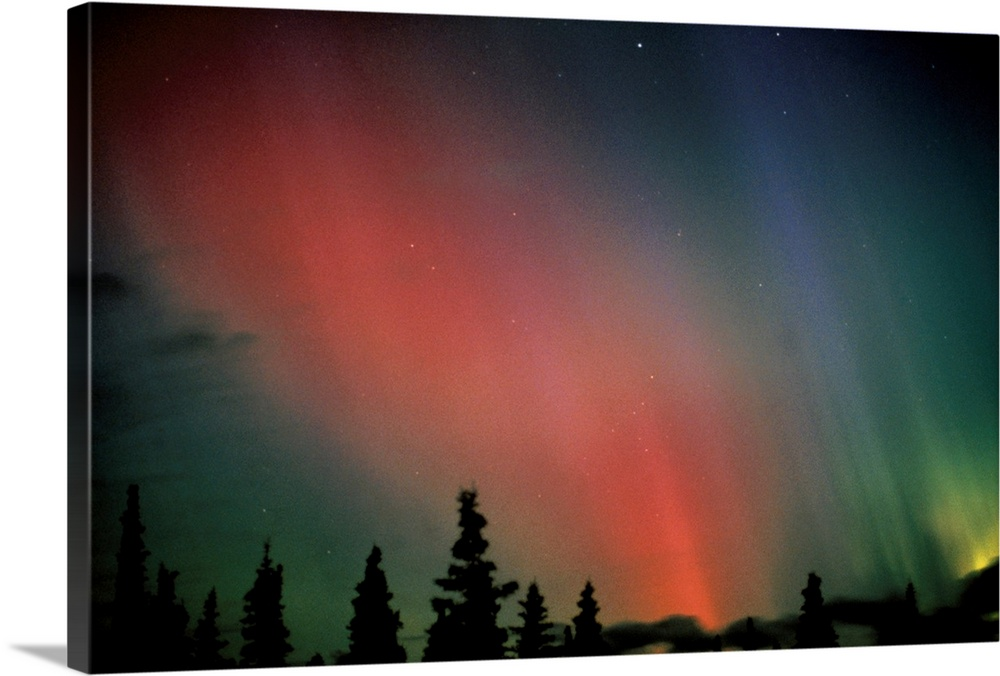 Large Solid-Faced Canvas Print Wall Art Print 30 x 20 entitled Red & Green Northern Lights Winter Alaska Solid-Faced Canvas Print entitled Red  Green Northern Lights Winter Alaska.  Multiple sizes available.  Primary colors within this image include Pink, Black, Gray.  Made in USA.  All products come with a 365 day workmanship guarantee.  Archival-quality UV-resistant inks.  Archival inks prevent fading and preserve as much fine detail as possible with no over-saturation or color shifting.  Canvas depth is 1.25 and includes a finished backing with pre-installed hanging hardware.