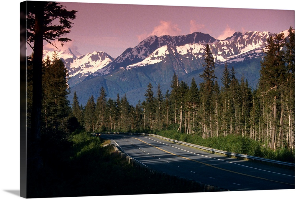Large Solid-Faced Canvas Print Wall Art Print 30 x 20 entitled Road passing through Alaskan wilderness Solid-Faced Canvas Print entitled Road passing through Alaskan wilderness.  Multiple sizes available.  Primary colors within this image include Light Gray, White, Dark Forest Green, Dark Navy Blue.  Made in the USA.  Satisfaction guaranteed.  Archival-quality UV-resistant inks.  Canvas depth is 1.25 and includes a finished backing with pre-installed hanging hardware.  Archival inks prevent fading and preserve as much fine detail as possible with no over-saturation or color shifting.