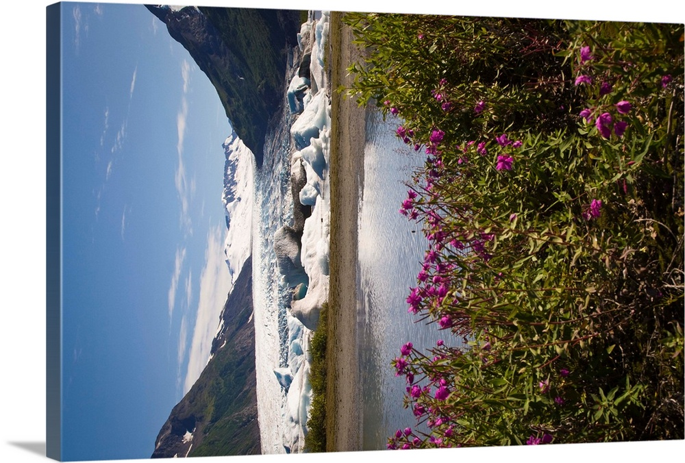 Large Solid-Faced Canvas Print Wall Art Print 30 x 20 entitled Scenic view of Spencer Glacier in the Placer River Valley o... Solid-Faced Canvas Print entitled Scenic view of Spencer Glacier in the Placer River Valley of Southcentral Alaska.  Multiple sizes available.  Primary colors within this image include Dark Yellow, Black, White, Gray Blue.  Made in USA.  All products come with a 365 day workmanship guarantee.  Archival-quality UV-resistant inks.  Canvas is handcrafted and made-to-order in the United States using high quality artist-grade canvas.  Archival inks prevent fading and preserve as much fine detail as possible with no over-saturation or color shifting.