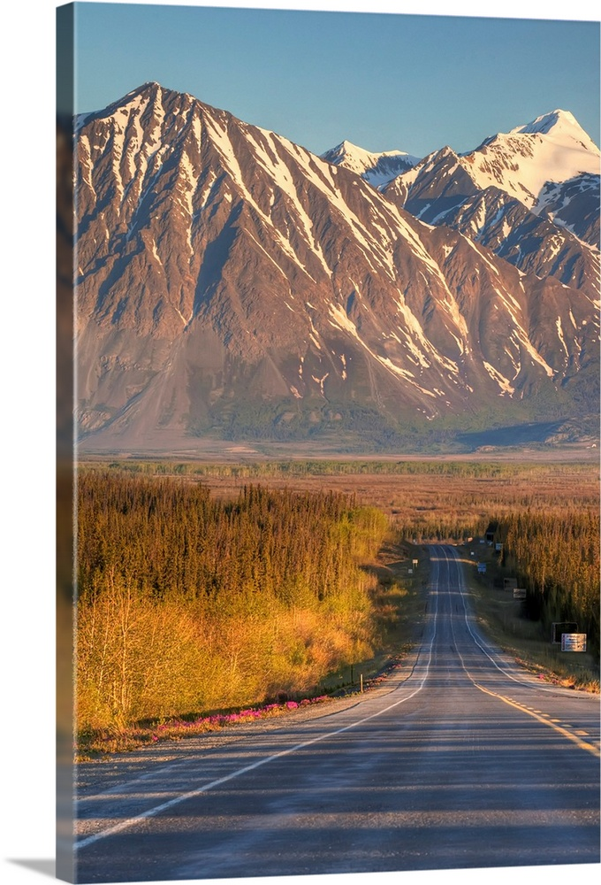 Large Solid-Faced Canvas Print Wall Art Print 20 x 30 entitled Scenic view of the Haines Highway in Southeast Alaska durin... Solid-Faced Canvas Print entitled Scenic view of the Haines Highway in Southeast Alaska during Summer.  Multiple sizes available.  Primary colors within this image include Brown, Peach, Dark Forest Green, Light Gray Blue.  Made in USA.  Satisfaction guaranteed.  Archival-quality UV-resistant inks.  Archival inks prevent fading and preserve as much fine detail as possible with no over-saturation or color shifting.  Featuring a proprietary design, our canvases produce the tightest corners without any bubbles, ripples, or bumps and will not warp or sag over time.