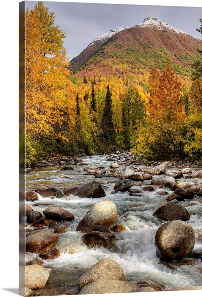 Large Solid-Faced Canvas Print Wall Art Print 20 x 30 entitled Scenic view of the Little Susitna River at the entrance to ... Solid-Faced Canvas Print entitled Scenic view of the Little Susitna River at the entrance to Hatcher Pass.  Multiple sizes available.  Primary colors within this image include Brown, Light Yellow, Black, Light Gray.  Made in USA.  Satisfaction guaranteed.  Archival-quality UV-resistant inks.  Featuring a proprietary design, our canvases produce the tightest corners without any bubbles, ripples, or bumps and will not warp or sag over time.  Canvas is handcrafted and made-to-order in the United States using high quality artist-grade canvas.
