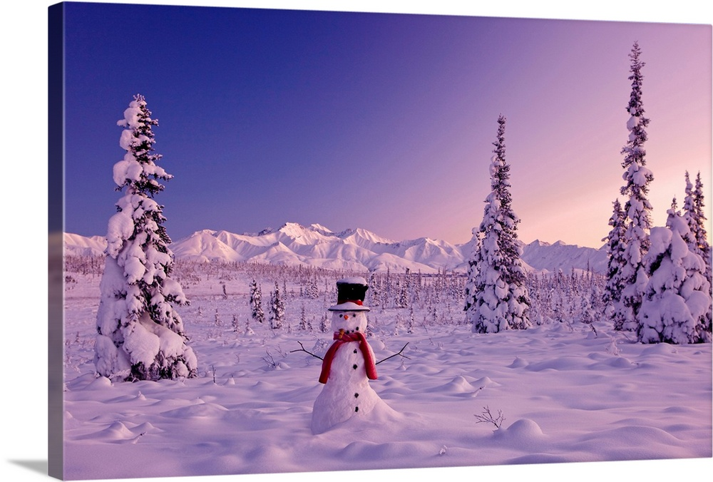 Large Solid-Faced Canvas Print Wall Art Print 30 x 20 entitled Snowman at sunset, snow covered spruce trees, Chugach Mount... Solid-Faced Canvas Print entitled Snowman at sunset, snow covered spruce trees, Chugach Mountains.  Large canvas photo of a snowman sitting in a snowy landscape with mountains in the distance and snow covered trees surrounding it.  Multiple sizes available.  Primary colors within this image include Dark Red, Dark Blue, Silver, Muted Blue.  Made in the USA.  All products come with a 365 day workmanship guarantee.  Inks used are latex-based and designed to last.  Canvas is handcrafted and made-to-order in the United States using high quality artist-grade canvas.  Archival inks prevent fading and preserve as much fine detail as possible with no over-saturation or color shifting.