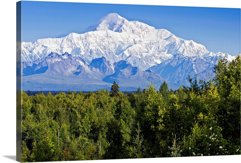 Large Solid-Faced Canvas Print Wall Art Print 30 x 20 entitled Southside view of Mt. Mckinley Summer, Southcentral, Alaska Solid-Faced Canvas Print entitled Southside view of Mt. Mckinley Summer, Southcentral, Alaska.  Multiple sizes available.  Primary colors within this image include Dark Yellow, Black, White, Royal Blue.  Made in USA.  All products come with a 365 day workmanship guarantee.  Inks used are latex-based and designed to last.  Featuring a proprietary design, our canvases produce the tightest corners without any bubbles, ripples, or bumps and will not warp or sag over time.  Canvas depth is 1.25 and includes a finished backing with pre-installed hanging hardware.