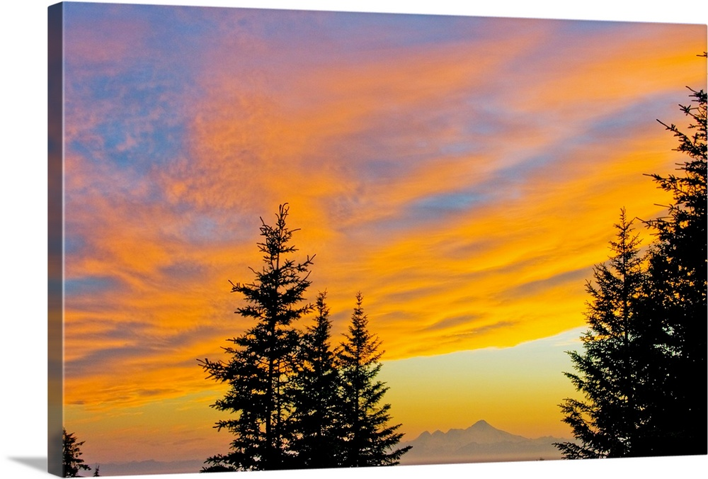 Large Solid-Faced Canvas Print Wall Art Print 30 x 20 entitled Sunset clouds over Iliamna Volcano near Nikolaevsk on Kenai... Solid-Faced Canvas Print entitled Sunset clouds over Iliamna Volcano near Nikolaevsk on Kenai Peninsula, Alaska.  Sunset clouds blaze orange over Iliamna Volcano elev. 10,016 feet in Lake Clark National Park, as seen from the hills near Nikolaevsk across Cook Inlet from the Kenai Peninsula in southcentral Alaska.  Multiple sizes available.  Primary colors within this image include Orange, Peach, Black, Light Gray.  Made in USA.  All products come with a 365 day workmanship guarantee.  Inks used are latex-based and designed to last.  Canvas depth is 1.25 and includes a finished backing with pre-installed hanging hardware.  Archival inks prevent fading and preserve as much fine detail as possible with no over-saturation or color shifting.