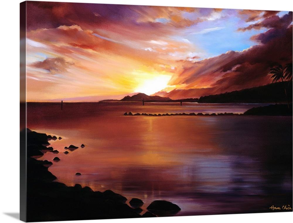 Canvas Kunst Drucken  Sunset Of Hawaii Kai