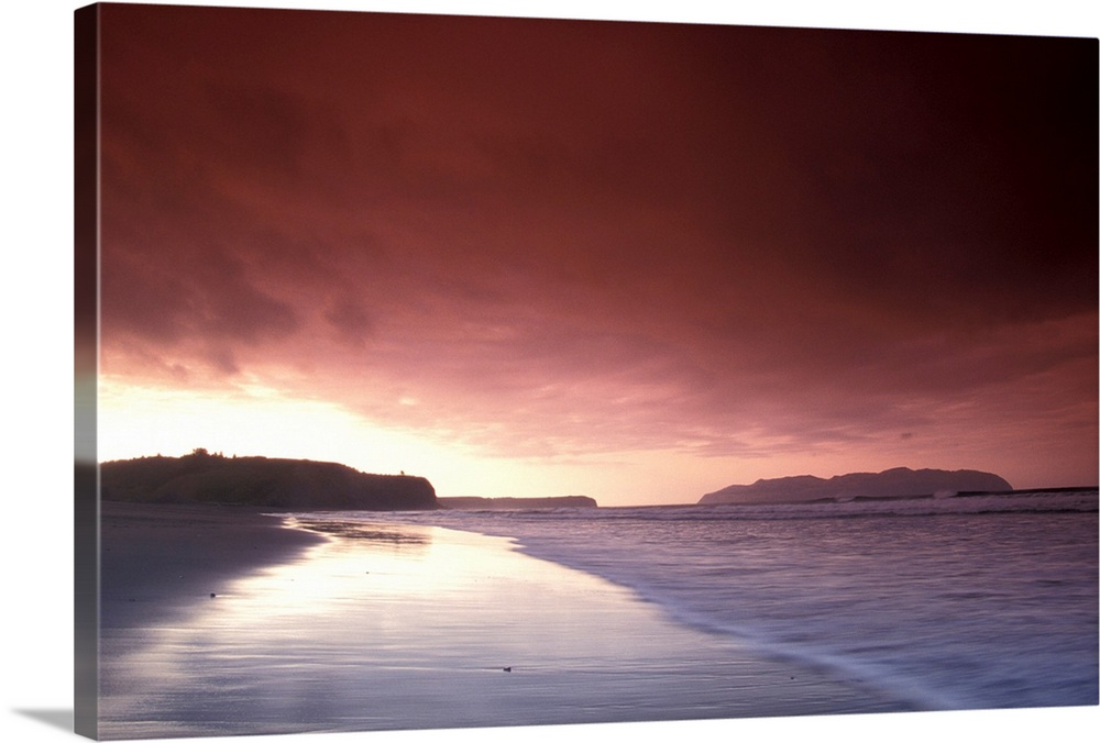 Large Solid-Faced Canvas Print Wall Art Print 30 x 20 entitled Sunset Over Beach at Pasagshak Bay Kodiak Island Solid-Faced Canvas Print entitled Sunset Over Beach at Pasagshak Bay Kodiak Island.  Multiple sizes available.  Primary colors within this image include Black, Gray, White, Gray Blue.  Made in USA.  All products come with a 365 day workmanship guarantee.  Archival-quality UV-resistant inks.  Featuring a proprietary design, our canvases produce the tightest corners without any bubbles, ripples, or bumps and will not warp or sag over time.  Canvas depth is 1.25 and includes a finished backing with pre-installed hanging hardware.