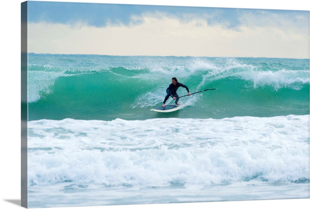 Solid-Faced Canvas drucken wand kunst entitled Surfing, Bunker Beach Tarifa Spain