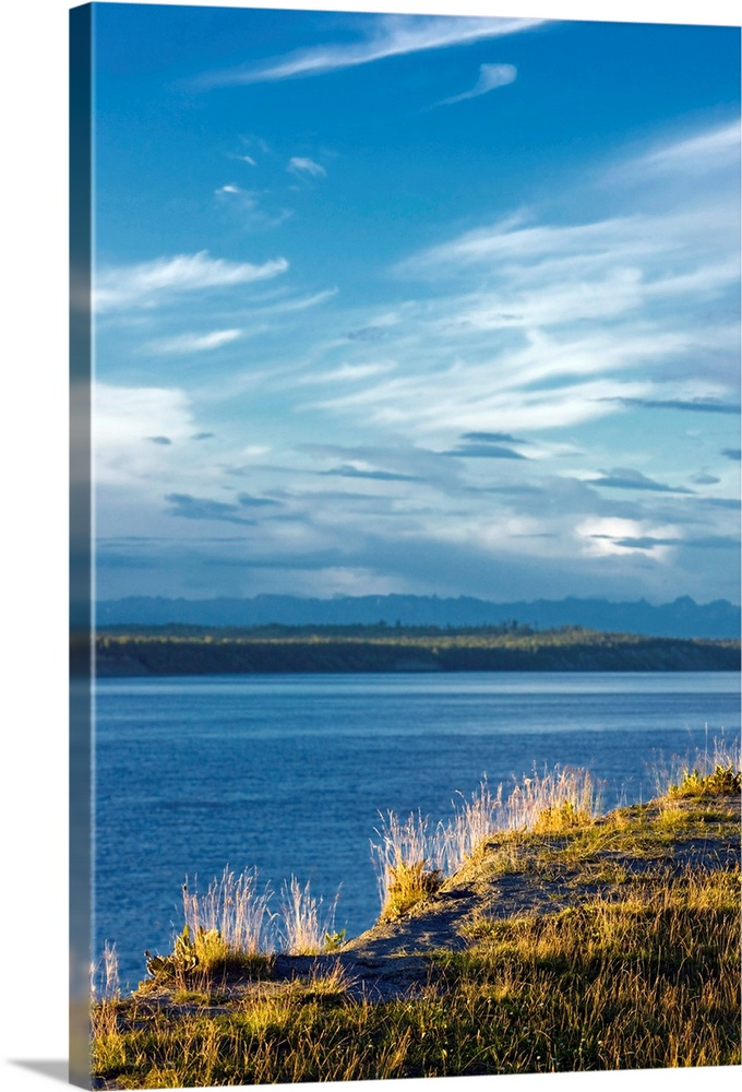 Large Solid-Faced Canvas Print Wall Art Print 20 x 30 entitled The bluff along the Tony Knowles Coastal Trail with Knik Ar... Solid-Faced Canvas Print entitled The bluff along the Tony Knowles Coastal Trail with Knik Arm below, Southcentral Alaska.  Multiple sizes available.  Primary colors within this image include Brown, Peach, Black, Royal Blue.  Made in USA.  All products come with a 365 day workmanship guarantee.  Inks used are latex-based and designed to last.  Featuring a proprietary design, our canvases produce the tightest corners without any bubbles, ripples, or bumps and will not warp or sag over time.  Archival inks prevent fading and preserve as much fine detail as possible with no over-saturation or color shifting.